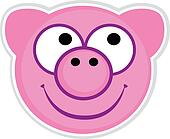 Cartoon cute pink Pig badge isolated on white