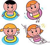 Doodle happy swimming kids set