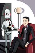 Man and robot