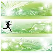 Set of 3 banners with runner