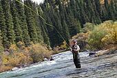 Fisherman fly fishing
