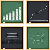 Blackboards with graphs and diagrams