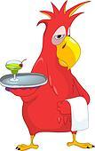 Funny Parrot. Waiter.