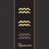 Aquarius Gold Horoscope Symbols
