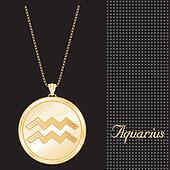 Aquarius Gold Pendant Necklace