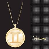 Gemini Gold Pendant Necklace