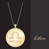 Libra Gold Pendant Necklace