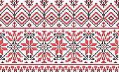 Ukrainian ornament - cross-stitch on a white