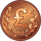 vector gold Money Pound coin
