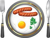 Fried eggs and sausage on plate