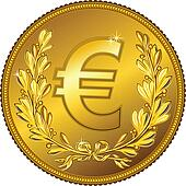 vector gold Money euro coin