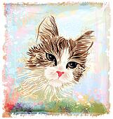 hand drawn portrait of the fluffy cat