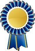 Blue award seal rosette