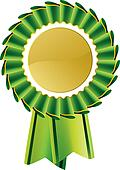 Green rosette award medal
