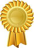 Gold rosette award medal