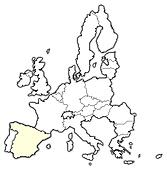 Map of the European Union, Spain highlighted