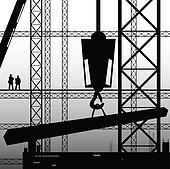 construction worker supervise the work illustration