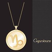 Capricorn Gold Pendant Necklace