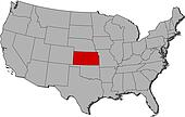 Map of the United States, Kansas highlighted