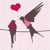Cute birds in love