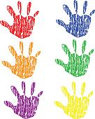 Colored grunge vintage hands vector