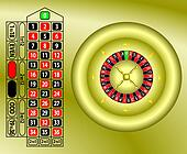 roulette table gold vector
