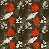 Shells and leaves summer seamless pattern