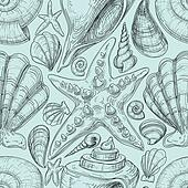 Beach seamless pattern with shells and starfish sketch