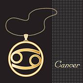 Cancer Gold Necklace