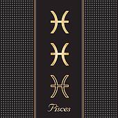 Pisces Gold Horoscope Symbols