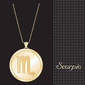 Scorpio Gold Pendant Necklace