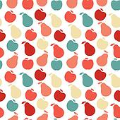 seamless fruit pattern- apple and pear