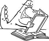 Dinosaur Reading a Book