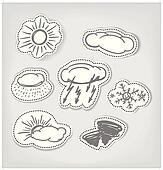 Hand-drawn weather icons set