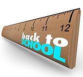 Back to School Words on Wooden Ruler Measurement