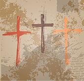 Three Crosses on the grunge background. The biblical concept of