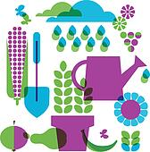 template of garden objects