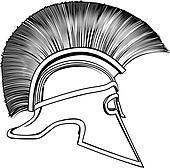 Black and White Ancient Greek Warrior Helmet