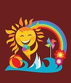 summer set;  happy sun holding ice cream