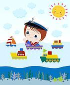 Little Captain In Ship