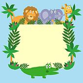 Cute safari cartoon animals - lion, giraffe, crocodile and eleph
