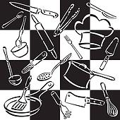 Kitchen Tools Checkerboard