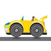 vector yellow glossy car icon.