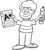 Boy holding a paper