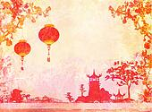 old paper with Asian Landscape