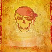 Skull Pirate - retro grunge card