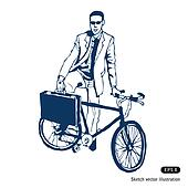 Businessman with his case and bike