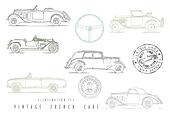 Illustration Set Vintage French cars with stamp design