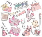 Women shoes, makeup and bags elemen
