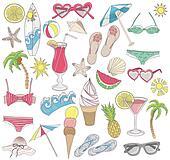 Summer beach elements set.